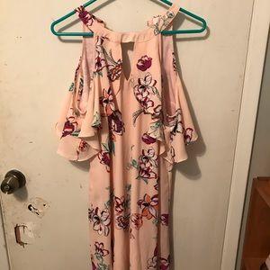 Pink Floral, Cold Shoulder dress with keyhole